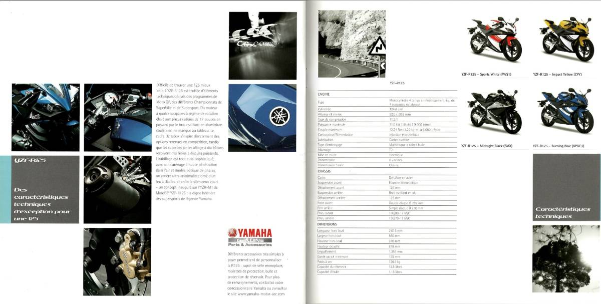 欧州版 ヤマハ 2008年 YZF-R125 カタログ。単品カタログはめったに出ないです。_画像4