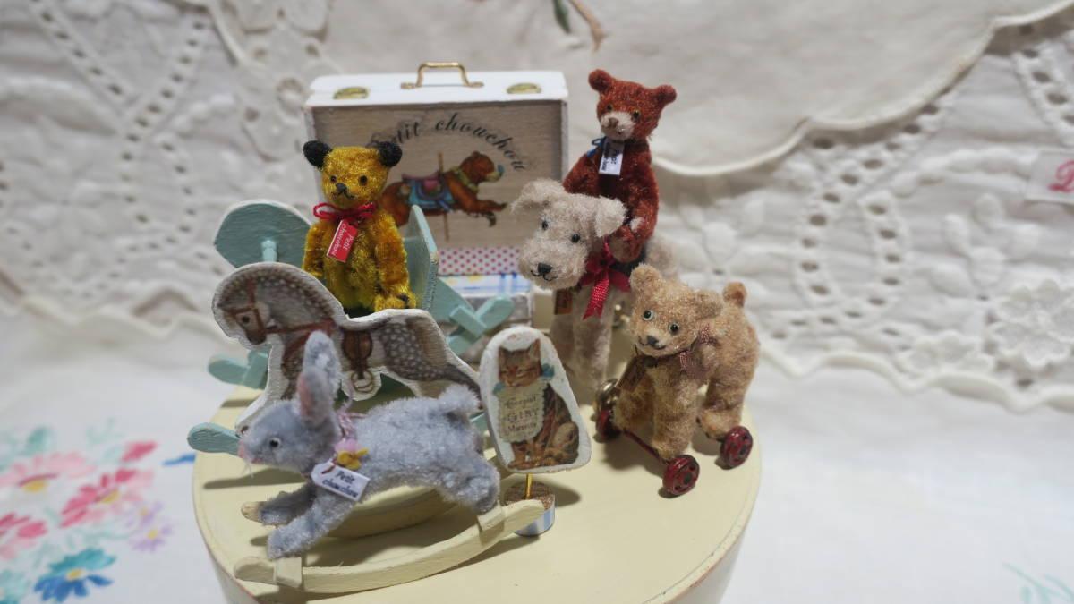 *handmade・ミニチュア*teddy bear&vintage toy set*ロッキングホース&テリア_画像2
