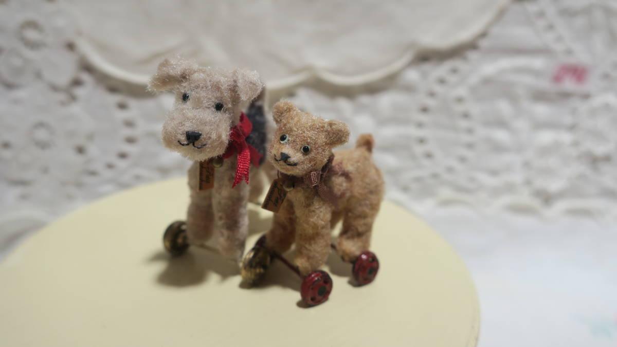 *handmade・ミニチュア*teddy bear&vintage toy set*ロッキングホース&テリア_画像3
