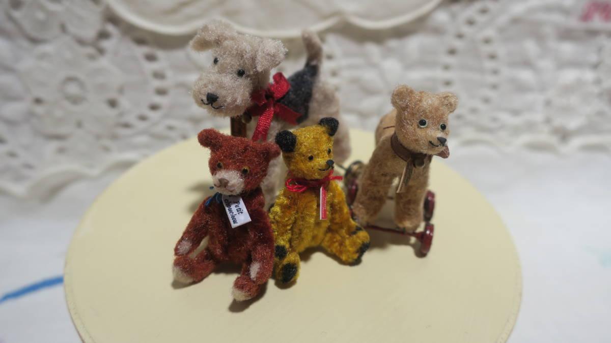 *handmade・ミニチュア*teddy bear&vintage toy set*ロッキングホース&テリア_画像4