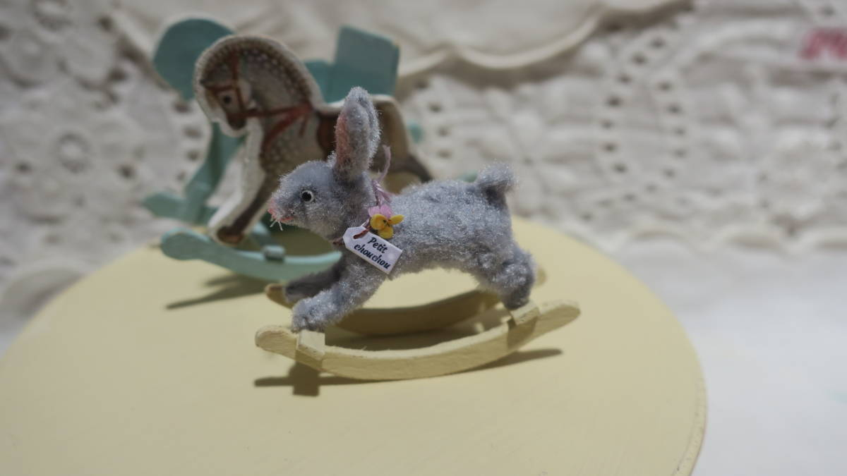 *handmade・ミニチュア*teddy bear&vintage toy set*ロッキングホース&テリア_画像6