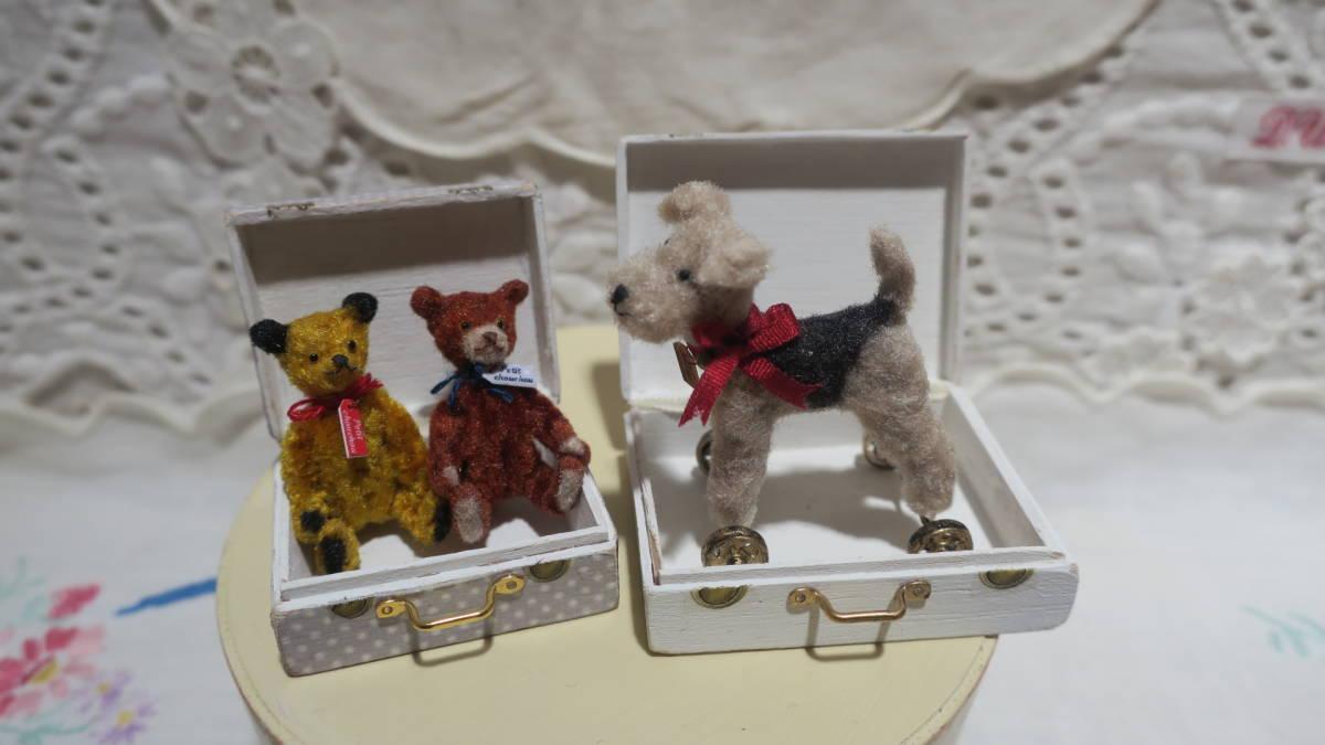 *handmade・ミニチュア*teddy bear&vintage toy set*ロッキングホース&テリア_画像8