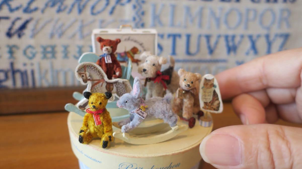*handmade・ミニチュア*teddy bear&vintage toy set*ロッキングホース&テリア_画像10