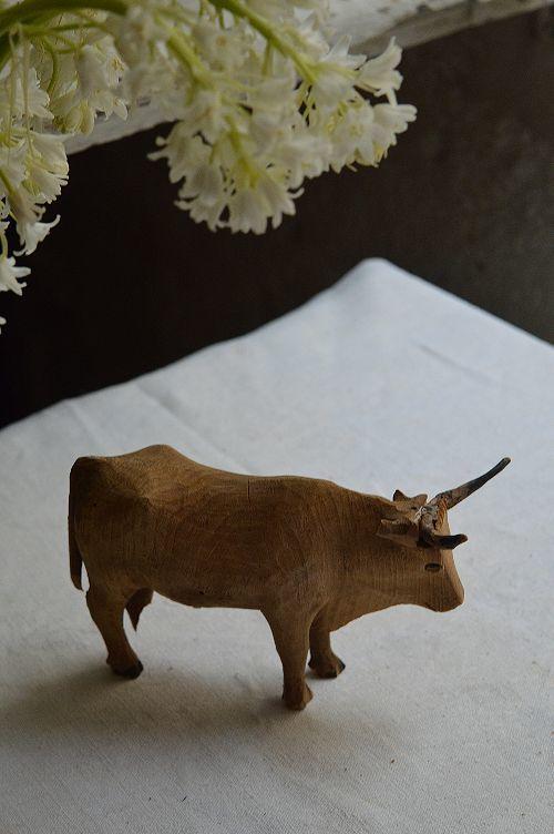 珍品フランスアンティーク カマルグの牛 木のオブジェ 西洋民藝_画像7
