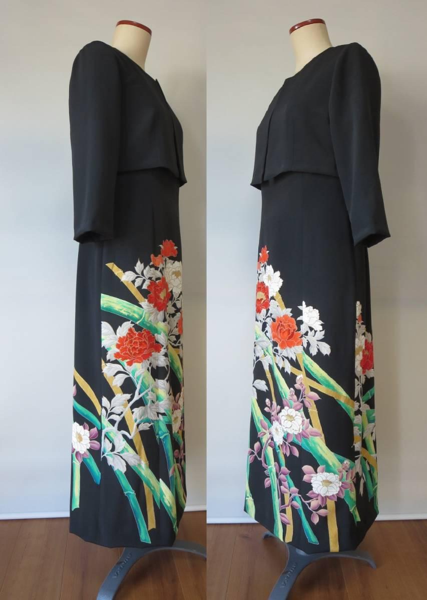 着物リメイク アンサンブル ボレロ ミディ丈ワンピース 留袖 未仕立て 京友禅 大きいサイズ Lサイズ P026 _画像3