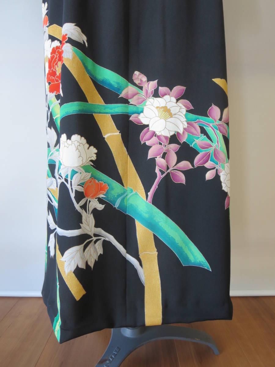 着物リメイク アンサンブル ボレロ ミディ丈ワンピース 留袖 未仕立て 京友禅 大きいサイズ Lサイズ P026 _画像8