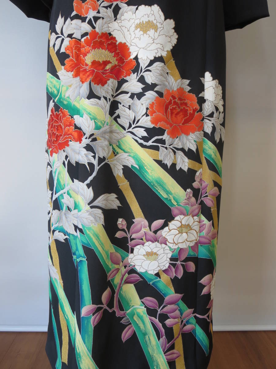 着物リメイク アンサンブル ボレロ ミディ丈ワンピース 留袖 未仕立て 京友禅 大きいサイズ Lサイズ P026 _画像6