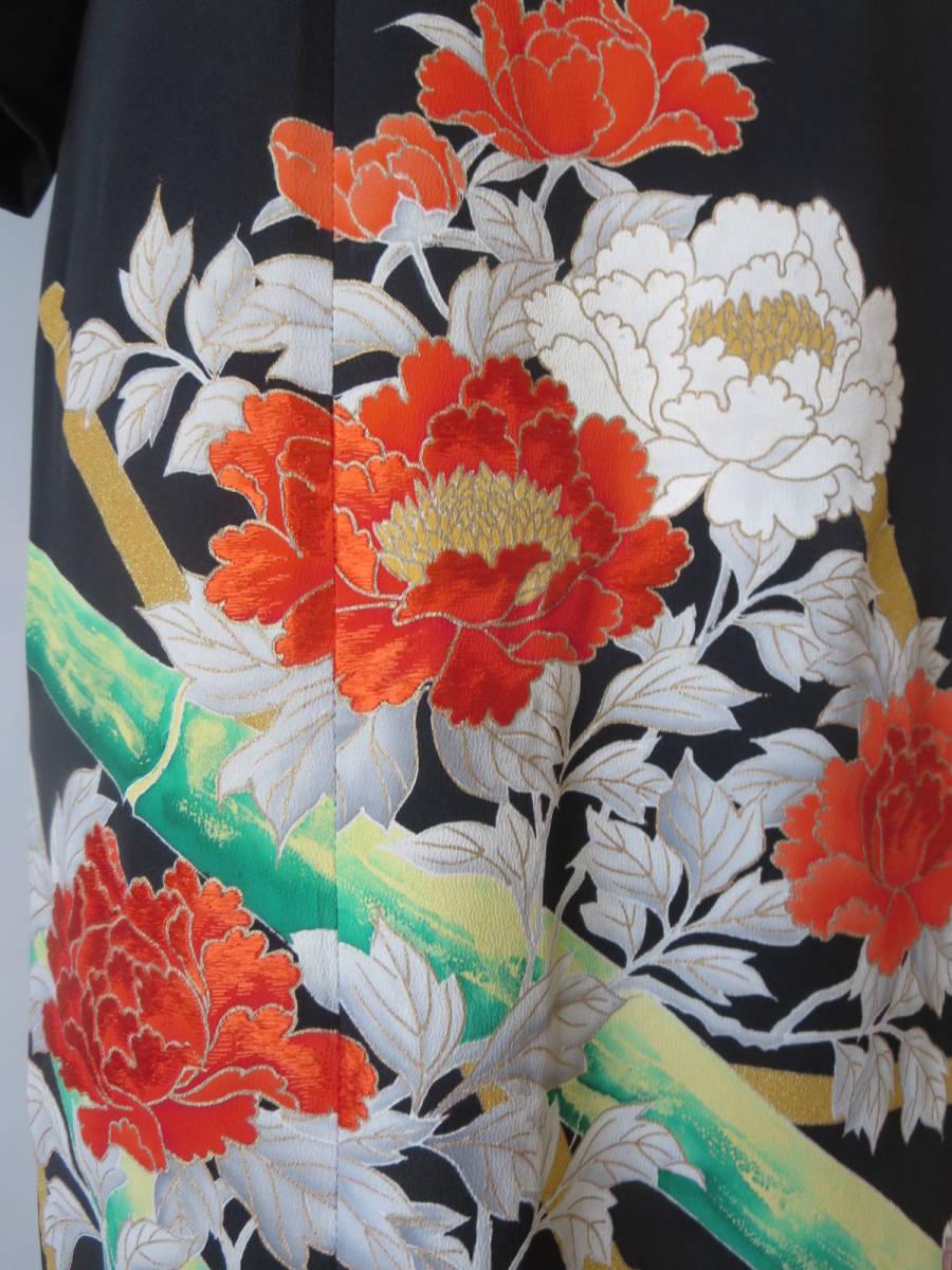 着物リメイク アンサンブル ボレロ ミディ丈ワンピース 留袖 未仕立て 京友禅 大きいサイズ Lサイズ P026 _画像7