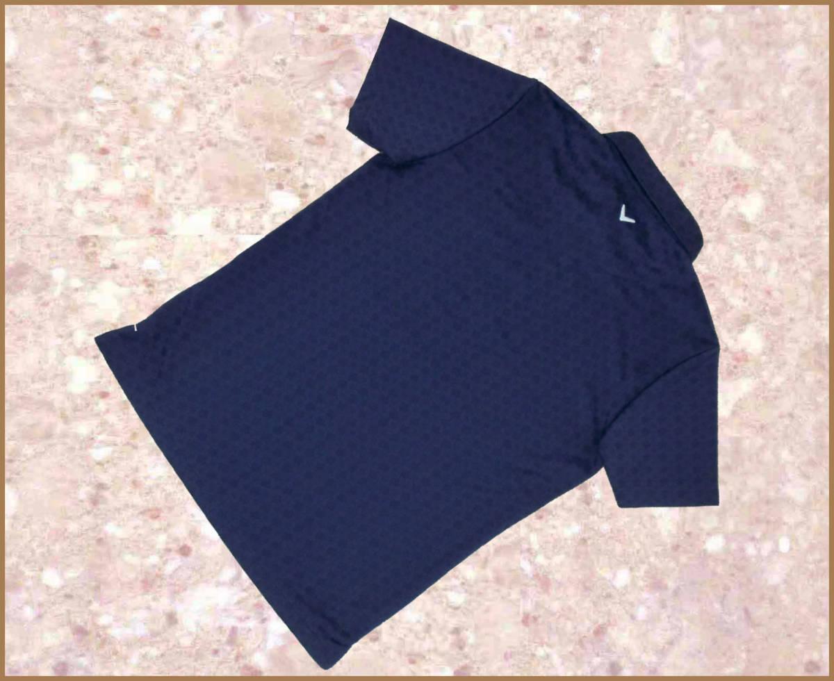 [正規新品]キャロウェイCallaway半袖ゴルフシャツ■ボタンダウンカットソージャガード速乾QUICK-DRYポロ■M紺ネイビー定価:10,800_画像2