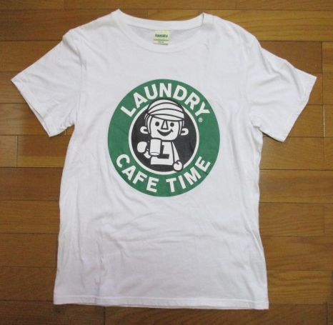 Laundry スタバ風 白 Tシャツ Mサイズ CAFE TIME ロゴ コーヒー ランドリー_画像2