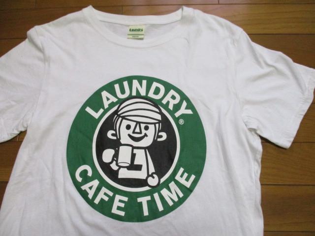 Laundry スタバ風 白 Tシャツ Mサイズ CAFE TIME ロゴ コーヒー ランドリー