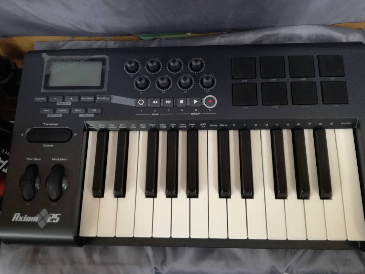 J998 美品中古 動作確認済み 送料無料 M-AUDIO 5鍵盤セミウェイテッドMIDIキーボード AXIOM25 楽曲制作 アレンジ 編曲 作曲_画像2
