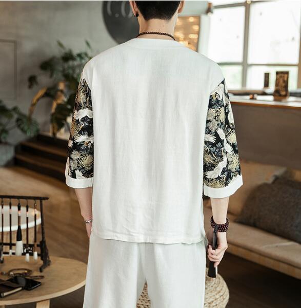 新品ジャージメンズ 麻 綿上下セット鶴柄 切替 半袖Tシャツセットアップ ショートパンツ 通気性 部屋着 カジュアル サイズ選択白M~5XL_画像5
