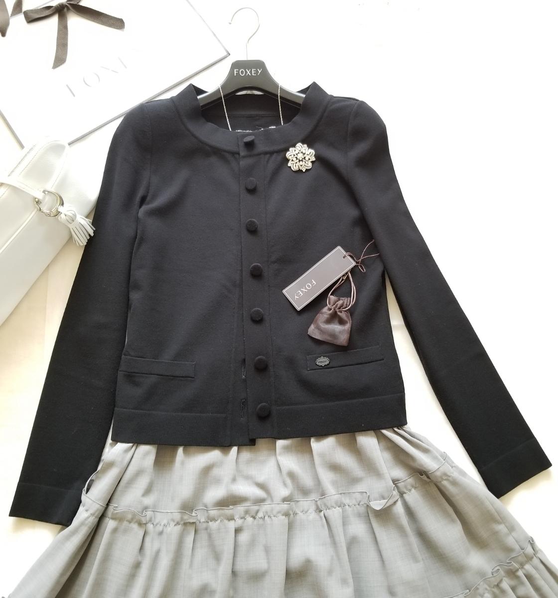 FOXEY 40【Cardigan Lady Compact】ブラックブラック 2018年商品 程よい立襟が着痩せ効果抜群な万能カーディガン ワンピースに_画像3