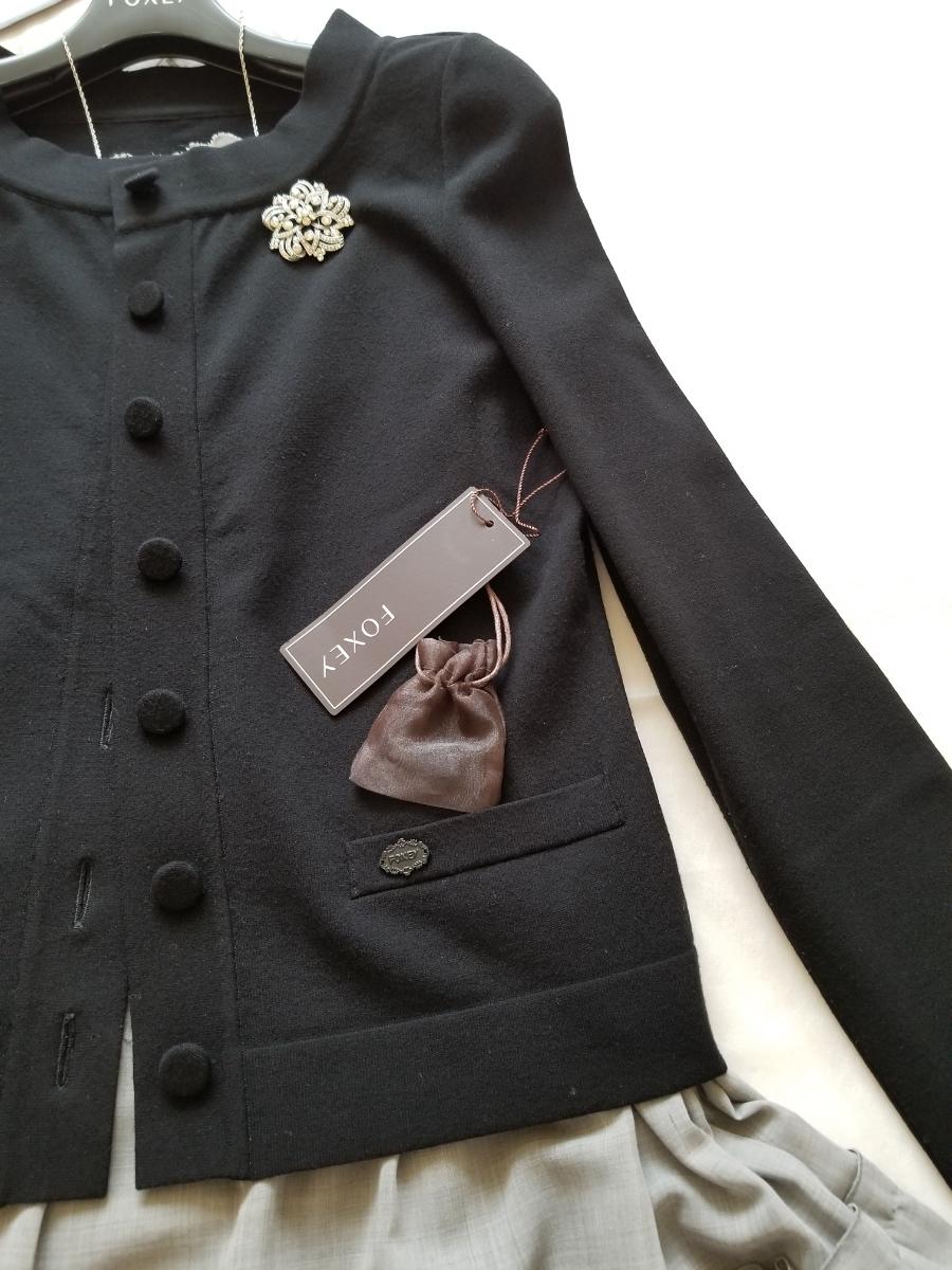 FOXEY 40【Cardigan Lady Compact】ブラックブラック 2018年商品 程よい立襟が着痩せ効果抜群な万能カーディガン ワンピースに_画像4