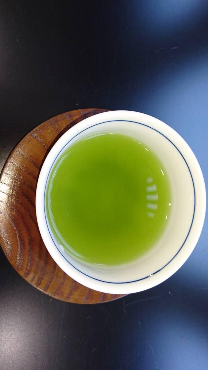 【2020年産新茶】福岡八女産 かぶせ茶一番茶100g6袋入り★★馥郁たる香り・甘味のある上級深蒸し煎茶★☆_深い緑の水色。低温で淹れてください。