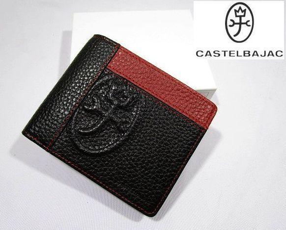 ■B126 新品 定価14,040円 カステルバジャック CASTELBAJAC 牛革二つ折り財布 KAMONマーク