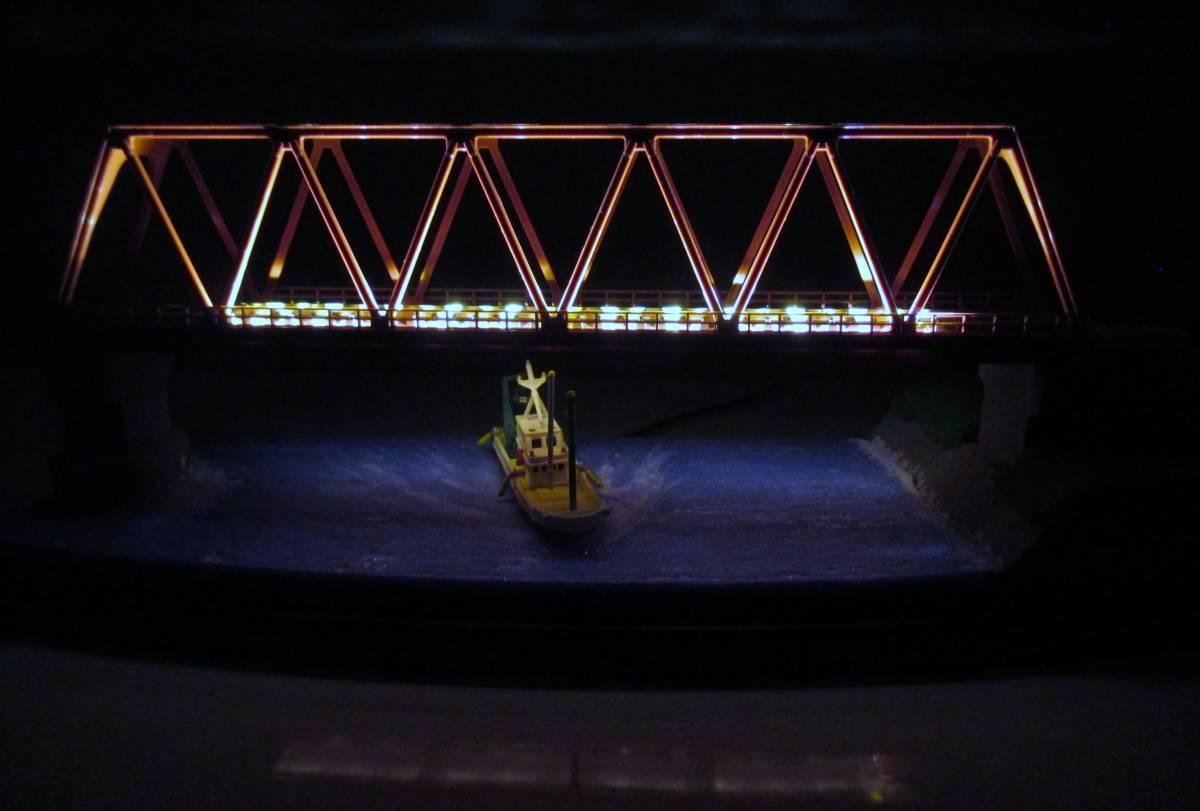 【ジオラマ】 トラス鉄橋ライトアップ (展示ケース) ※展示車両、電源アダプタ・リモコン付属_画像8