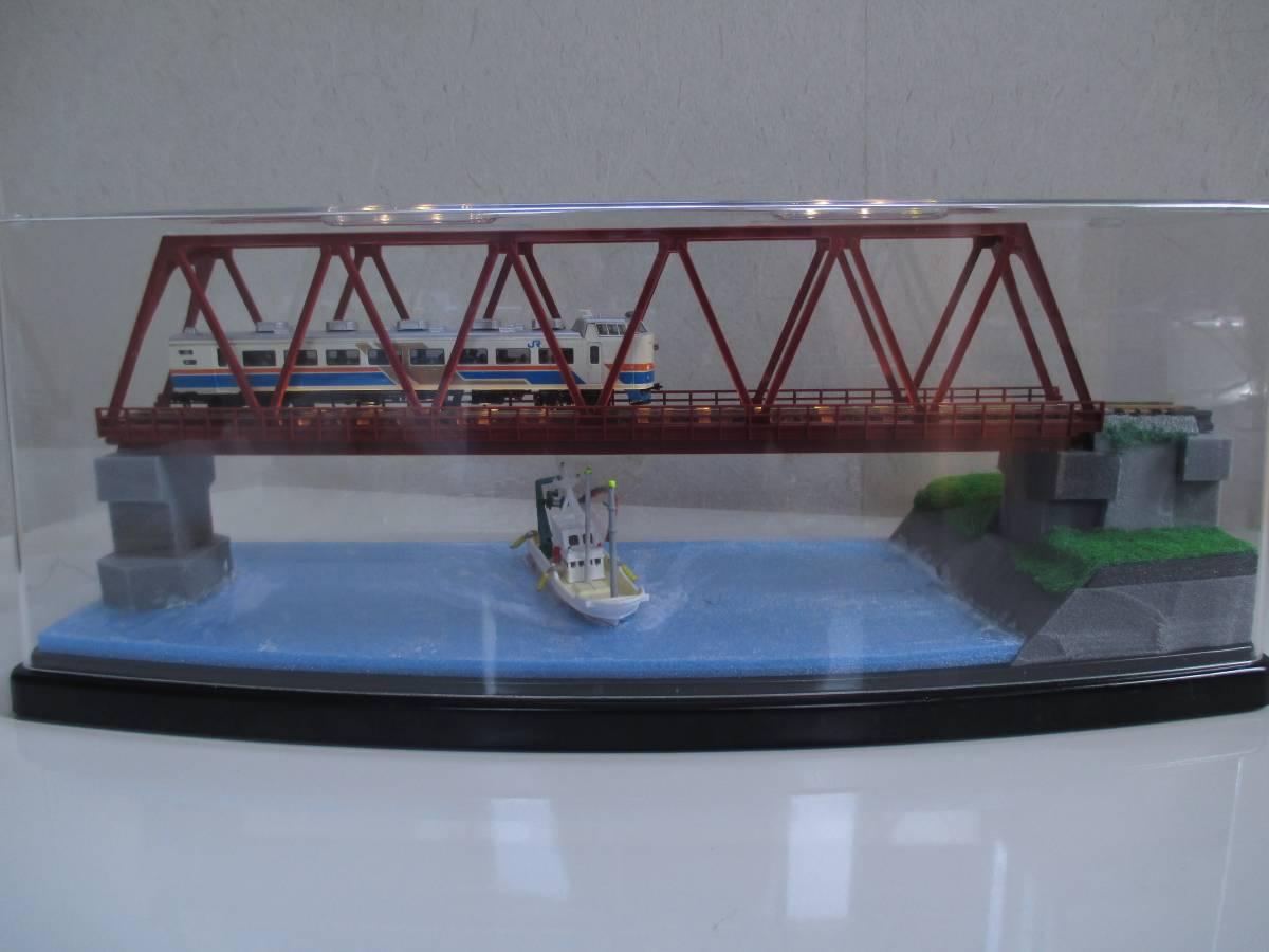 【ジオラマ】 トラス鉄橋ライトアップ (展示ケース) ※展示車両、電源アダプタ・リモコン付属