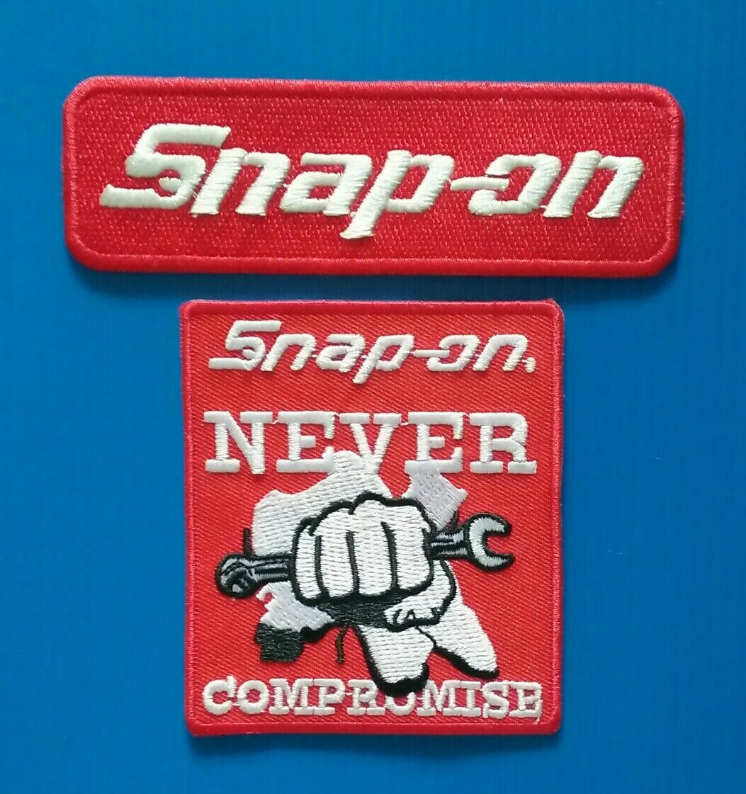 R184 2 Lot Snap-on Tools Embroidered Iron Or Sewn On Patches 2ロットスナップオンツールは鉄で刺繍またはパッチに縫い付け