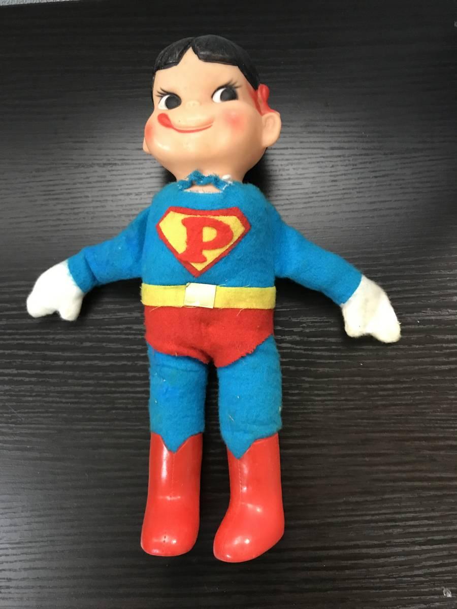 不二家 ペコちゃん ソフビ スーパーマン ヴィンテージ レトロ 青良01 0522
