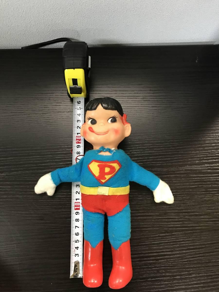 不二家 ペコちゃん ソフビ スーパーマン ヴィンテージ レトロ 青良01 0522_画像6