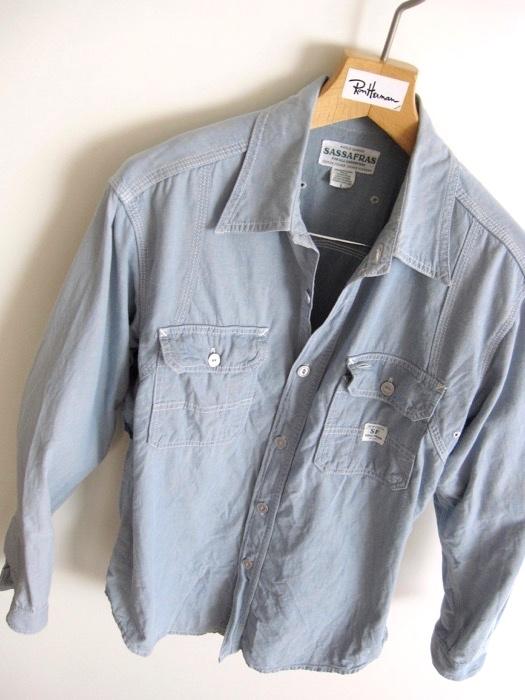 【SASSAFRAS ササフラス】定番 シャンブレー ワークシャツ L!!_画像3