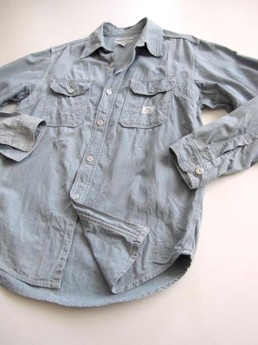 【SASSAFRAS ササフラス】定番 シャンブレー ワークシャツ L!!_画像6