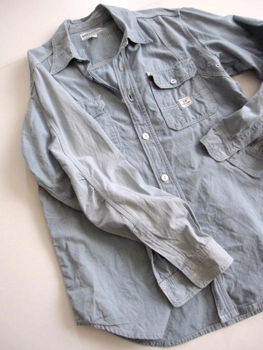 【SASSAFRAS ササフラス】定番 シャンブレー ワークシャツ L!!_画像8