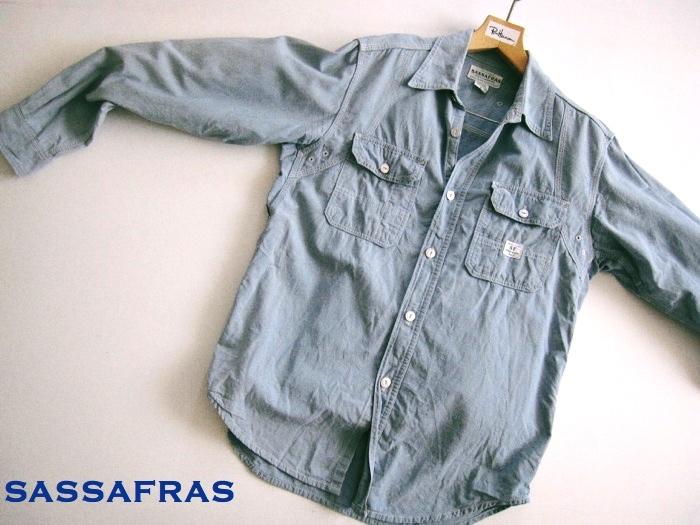 【SASSAFRAS ササフラス】定番 シャンブレー ワークシャツ L!!