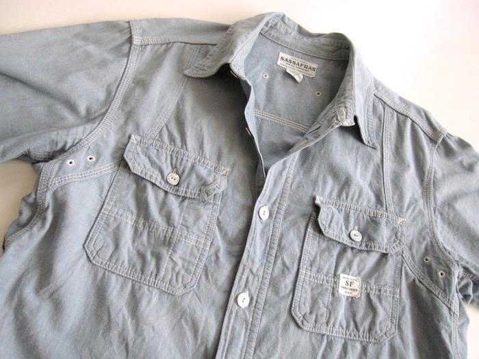 【SASSAFRAS ササフラス】定番 シャンブレー ワークシャツ L!!_画像5