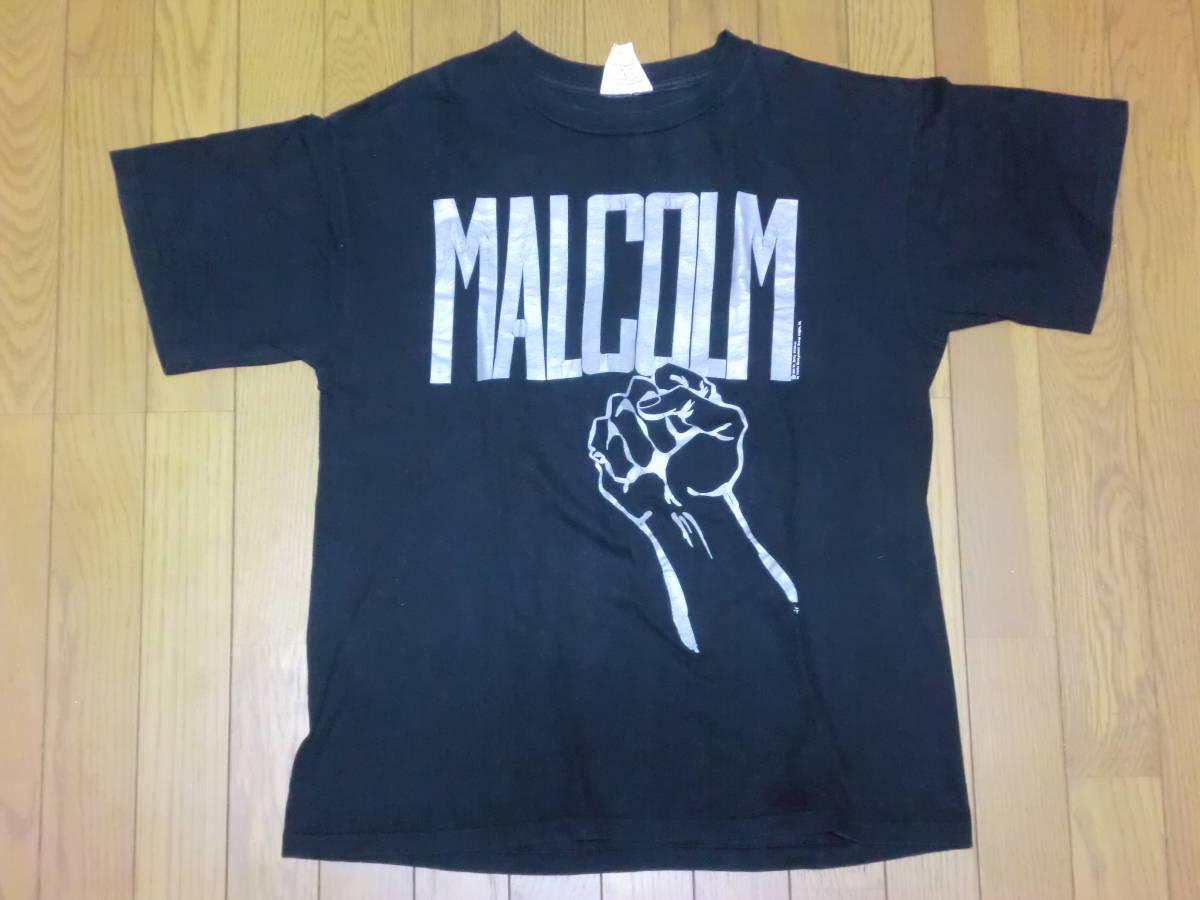 ビンテージ 90s USA製 マルコムX Tシャツ L ブラック 黒 ラスタカラー スパイクリー 40acres クロスカラーズ _画像1