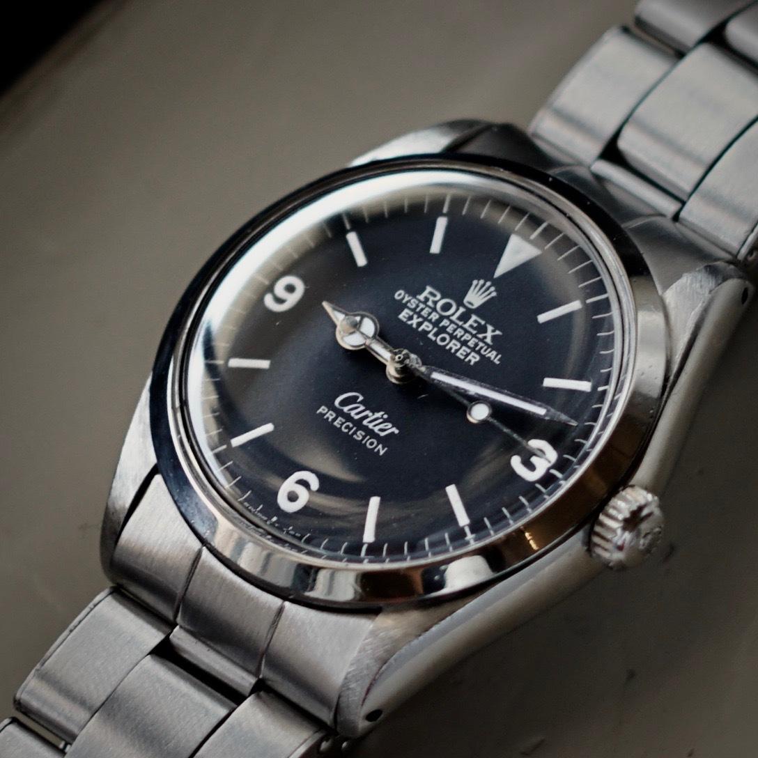 超美品 Rolex 5500 Explorer Cartier Wネーム カルティエ ロレックス エクスプローラー 5500 リダン OH済 仕上げ済 リベットブレス_画像3