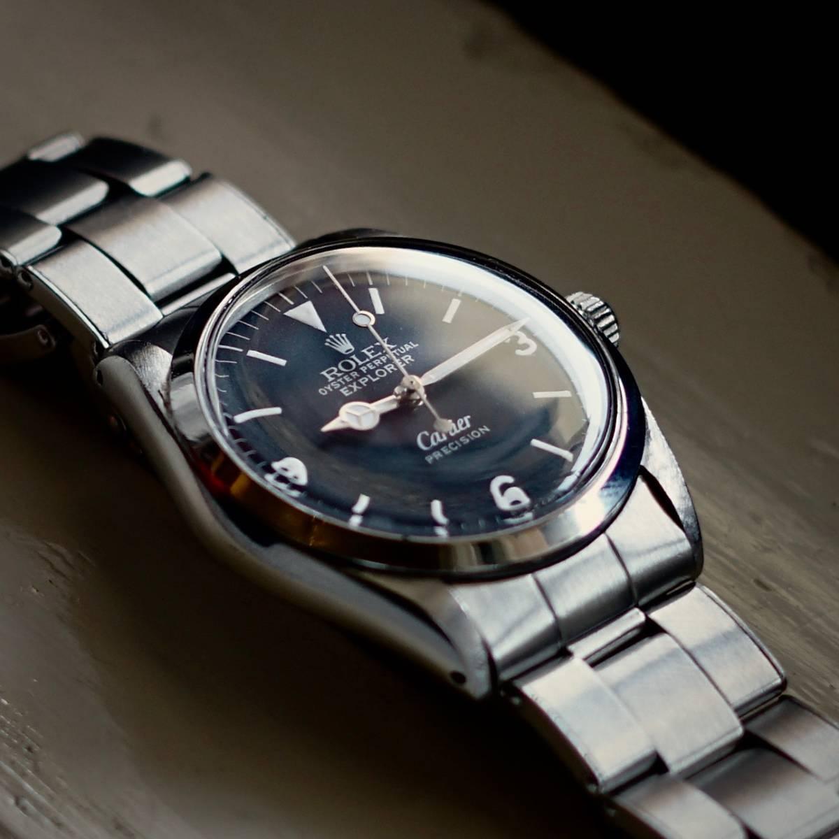 超美品 Rolex 5500 Explorer Cartier Wネーム カルティエ ロレックス エクスプローラー 5500 リダン OH済 仕上げ済 リベットブレス