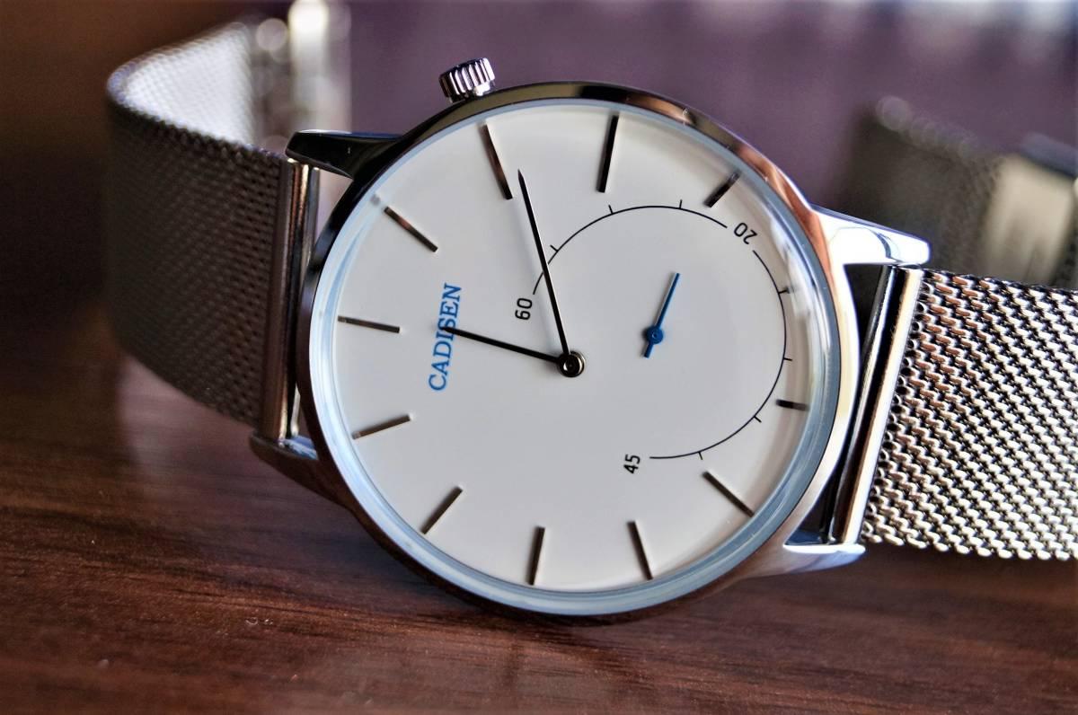 新品〓クォーツ腕時計 アナログ メンズ CADISENブランド メッシュベルトスモールセコンドモデル〓ホワイト文字盤〓売り切り_画像2