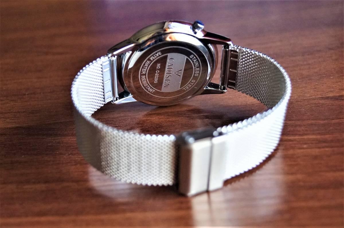 新品〓クォーツ腕時計 アナログ メンズ CADISENブランド メッシュベルトスモールセコンドモデル〓ホワイト文字盤〓売り切り_画像4