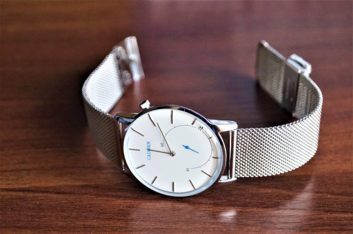 新品〓クォーツ腕時計 アナログ メンズ CADISENブランド メッシュベルトスモールセコンドモデル〓ホワイト文字盤〓売り切り_画像5
