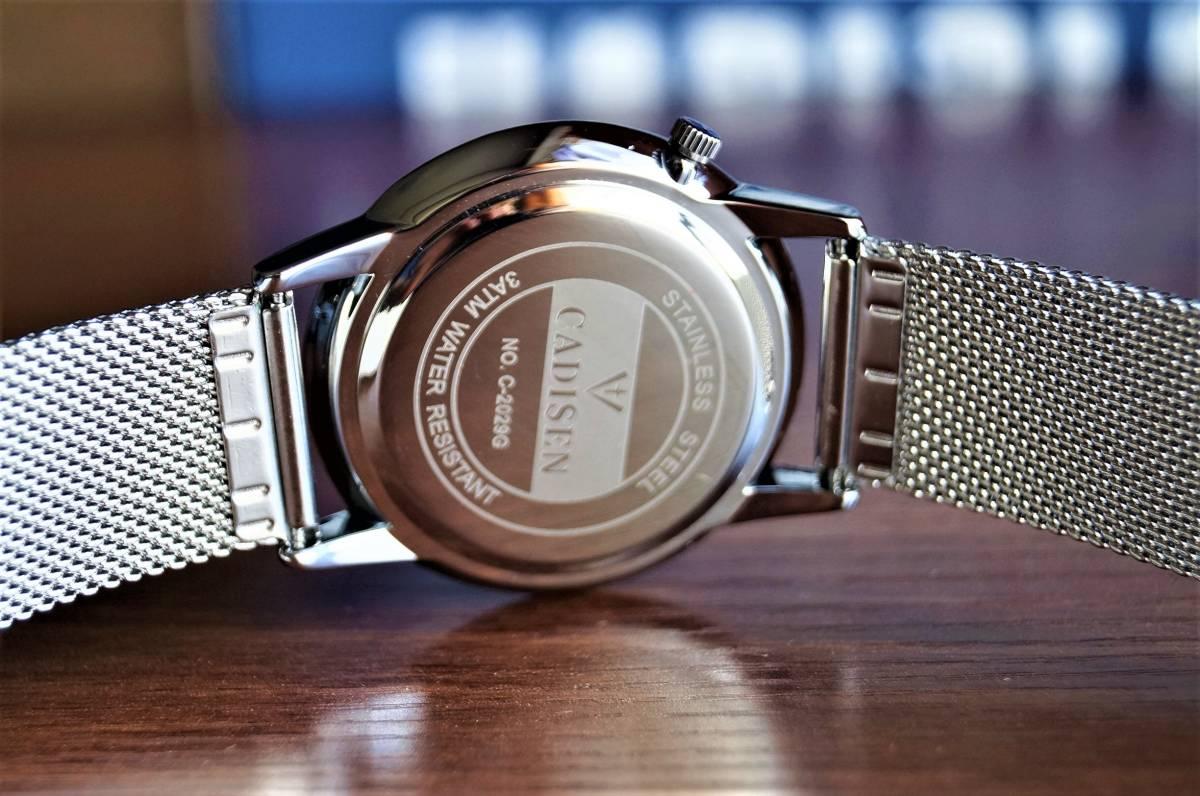 新品〓クォーツ腕時計 アナログ メンズ CADISENブランド メッシュベルトスモールセコンドモデル〓ホワイト文字盤〓売り切り_画像6