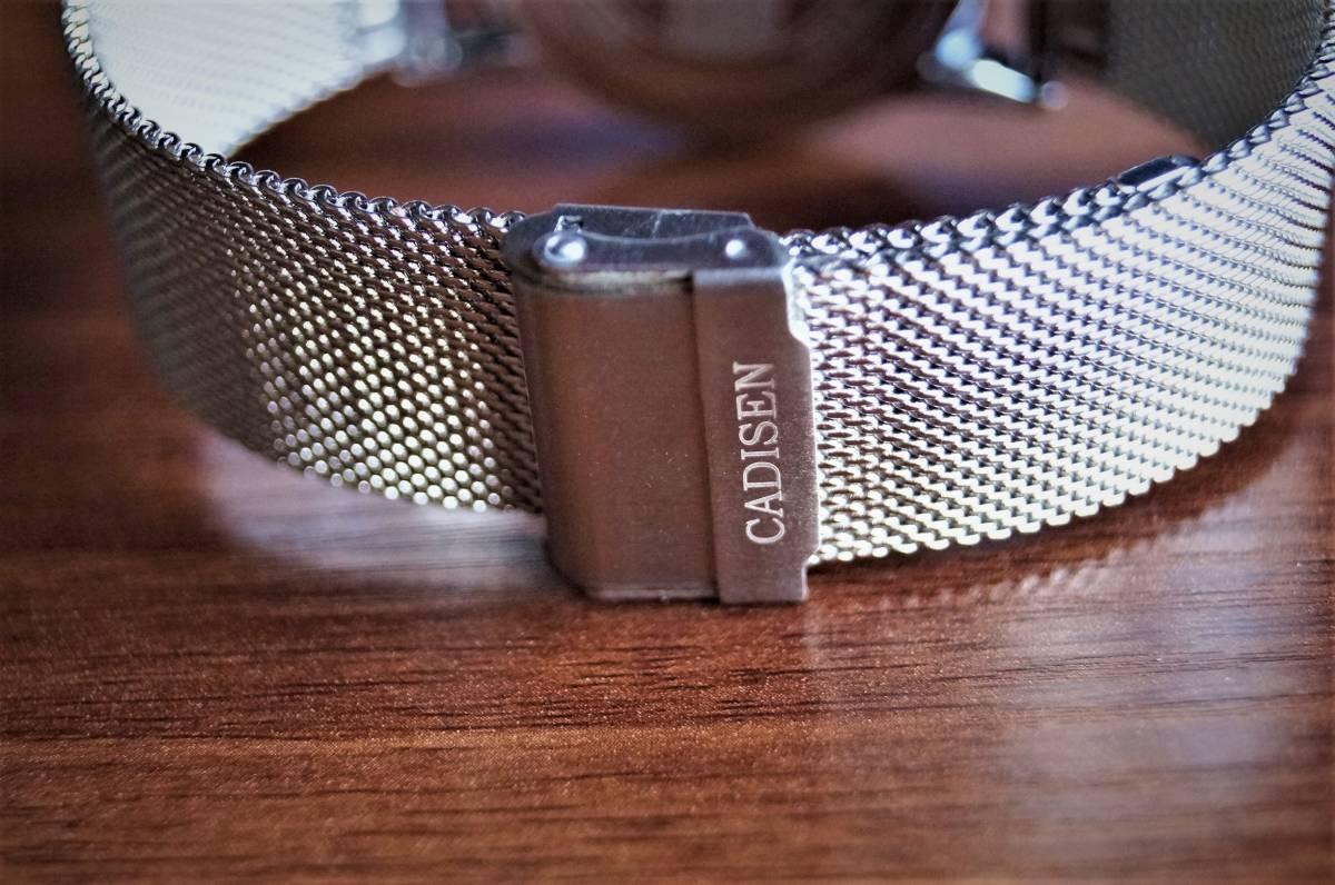 新品〓クォーツ腕時計 アナログ メンズ CADISENブランド メッシュベルトスモールセコンドモデル〓ホワイト文字盤〓売り切り_画像7