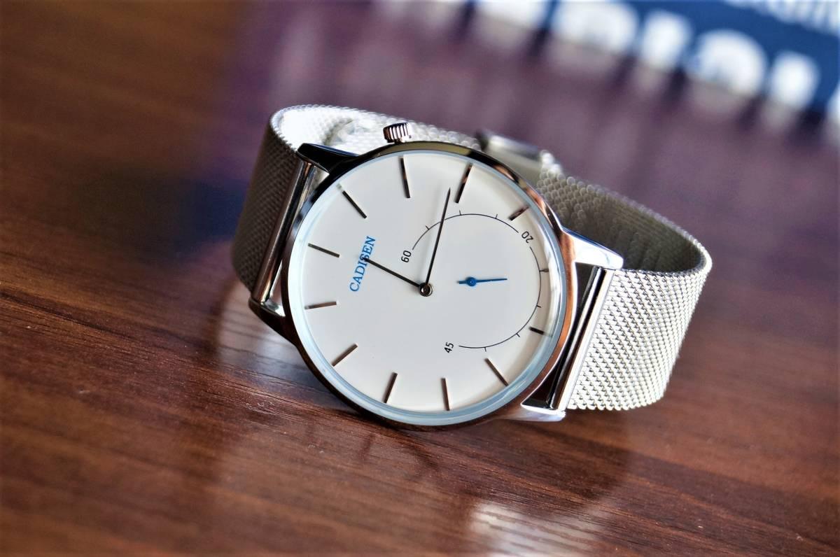 新品〓クォーツ腕時計 アナログ メンズ CADISENブランド メッシュベルトスモールセコンドモデル〓ホワイト文字盤〓売り切り_画像8