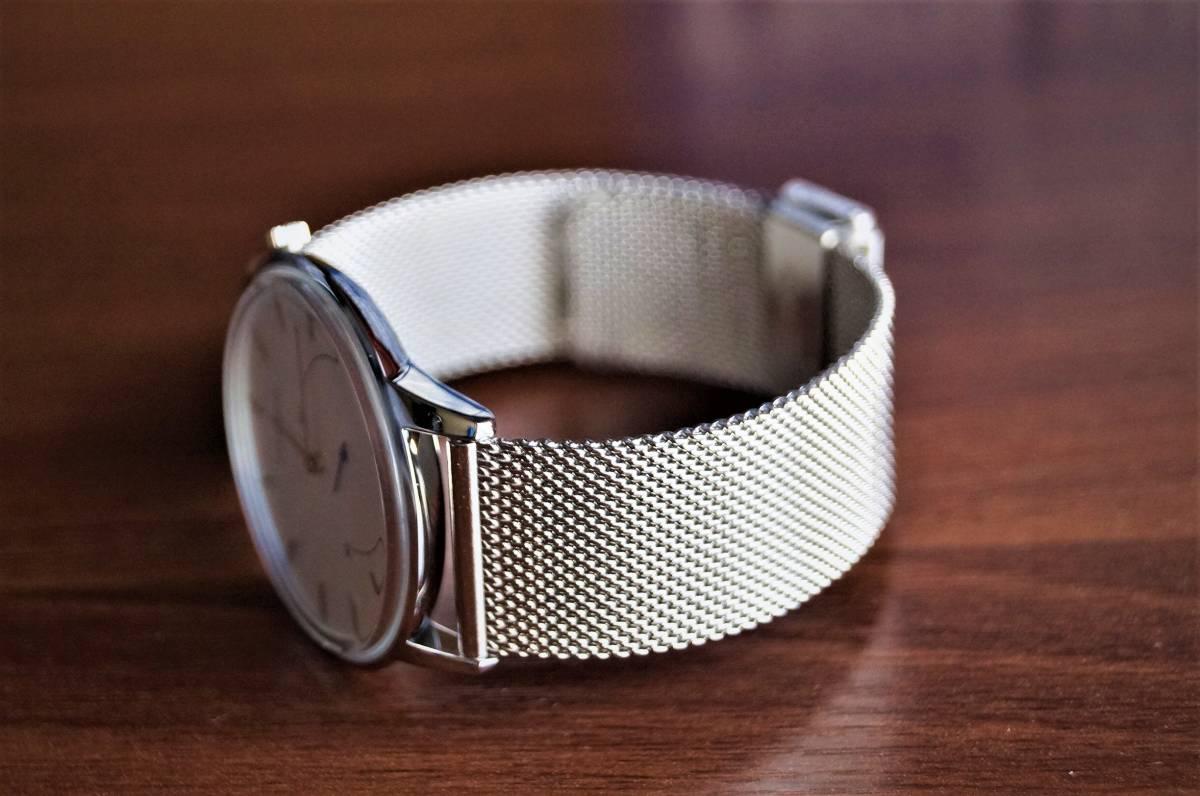 新品〓クォーツ腕時計 アナログ メンズ CADISENブランド メッシュベルトスモールセコンドモデル〓ホワイト文字盤〓売り切り_画像9