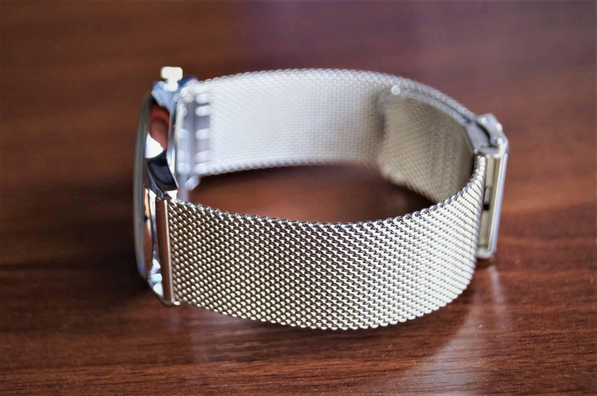 新品〓クォーツ腕時計 アナログ メンズ CADISENブランド メッシュベルトスモールセコンドモデル〓ホワイト文字盤〓売り切り_画像10