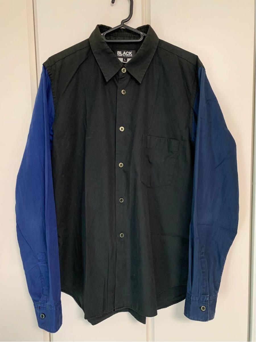 希少 ビンテージ COMME des GARCONS コムデギャルソン 長袖シャツ シャツ ドッキングシャツ 再構築デザイン 切替デザイン 配色 モード 黒