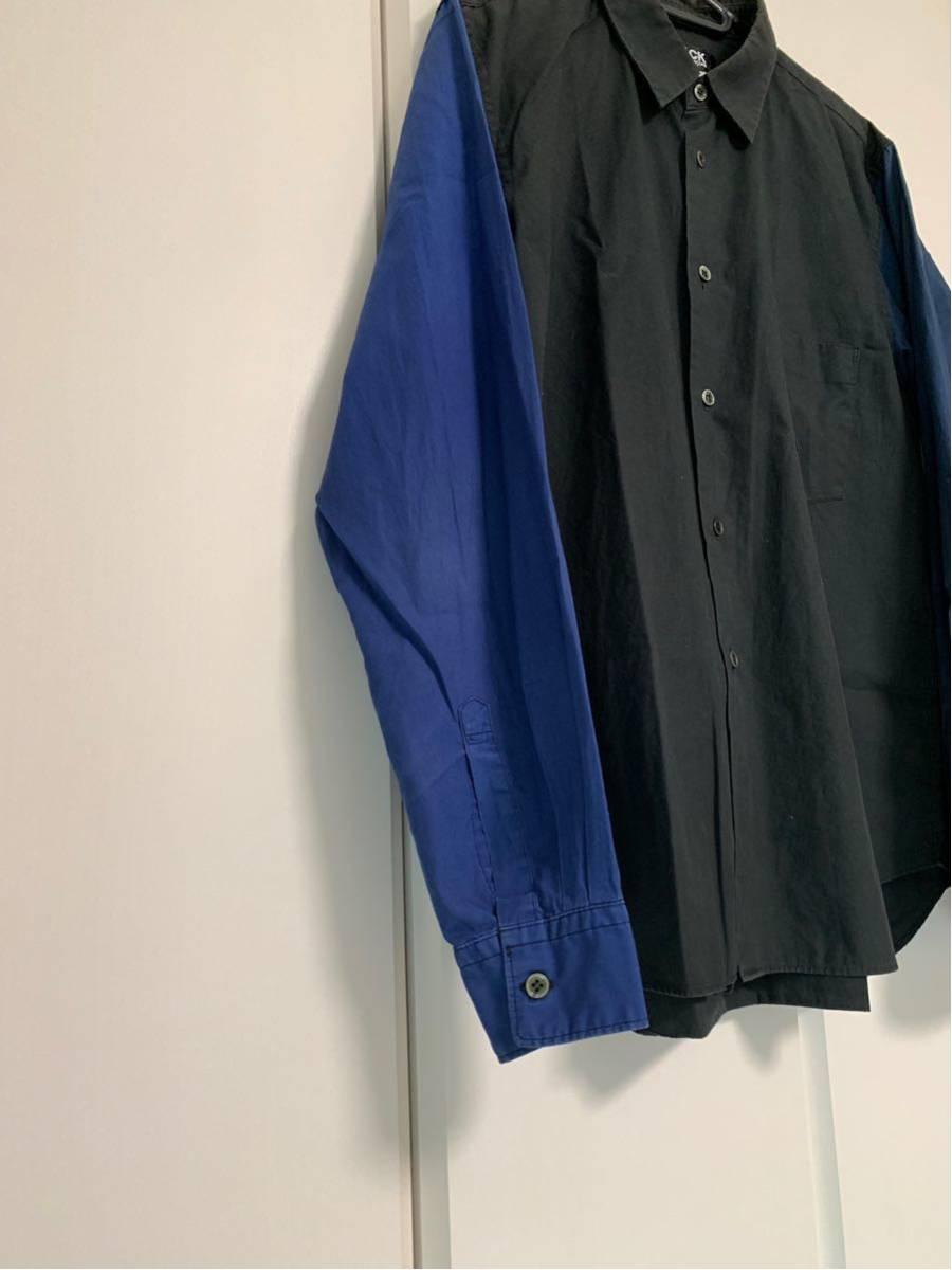 希少 ビンテージ COMME des GARCONS コムデギャルソン 長袖シャツ シャツ ドッキングシャツ 再構築デザイン 切替デザイン 配色 モード 黒 _画像4