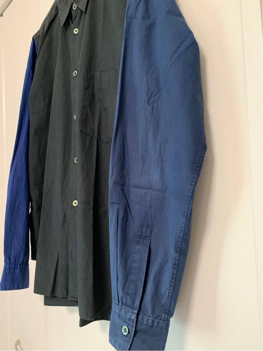 希少 ビンテージ COMME des GARCONS コムデギャルソン 長袖シャツ シャツ ドッキングシャツ 再構築デザイン 切替デザイン 配色 モード 黒 _画像2
