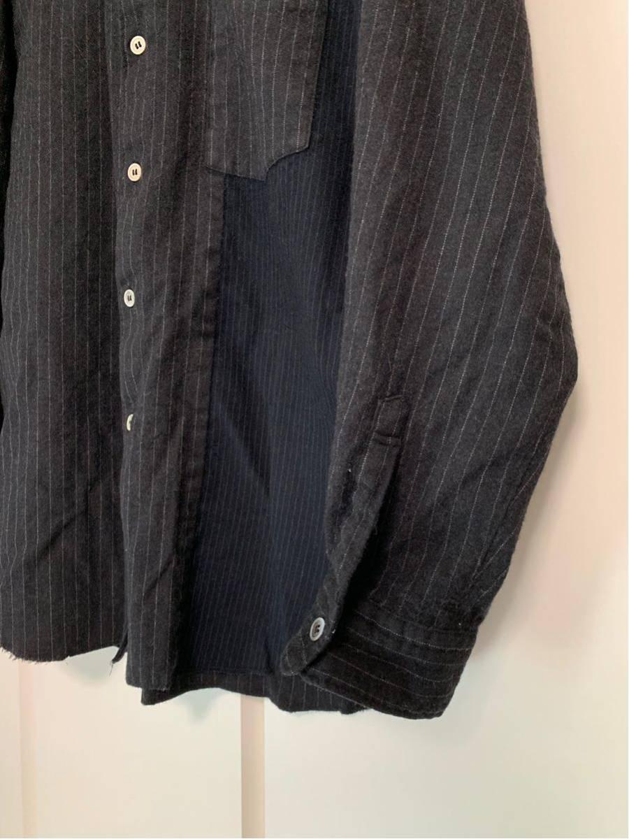希少 ビンテージ COMME des GARCONS コムデギャルソン 長袖シャツ シャツ 再構築 デザイン ドッキング 切替 配色 生地 変化 モード 黒_画像2