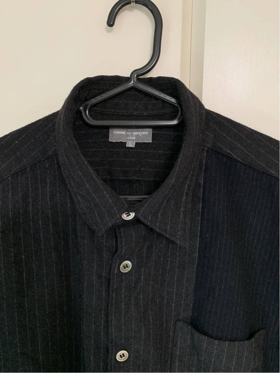 希少 ビンテージ COMME des GARCONS コムデギャルソン 長袖シャツ シャツ 再構築 デザイン ドッキング 切替 配色 生地 変化 モード 黒_画像4