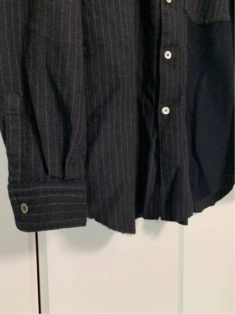 希少 ビンテージ COMME des GARCONS コムデギャルソン 長袖シャツ シャツ 再構築 デザイン ドッキング 切替 配色 生地 変化 モード 黒_画像3