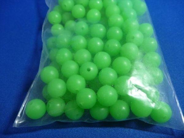 107D 10mm 100個緑玉 夜光玉 シーバス、スズキブッコミ、セイゴブッコミなどあらゆる自作仕掛けに、蓄光、発光、シモリ玉