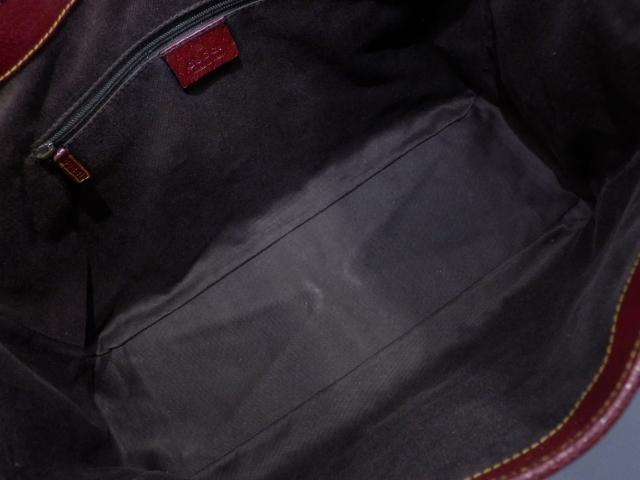 02 1円 GUCCI グッチ GGキャンバス×レザー トート バッグ 茶色×ボルドー 美品_画像8